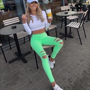 Denim - ✨LAST✨Neon Green Multi-Slash Skinny Jeans 💚💚
